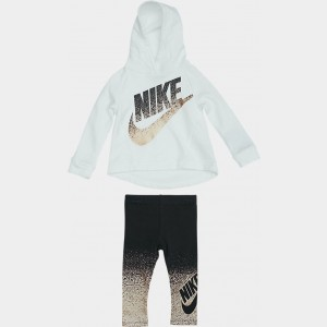 Girls' Toddler Nike Futura Hoodie and Leggings Set White/Black/Metallic Sales