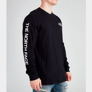 Men's The North Face Printed Long-Sleeve T-Shirt Black/White Sales