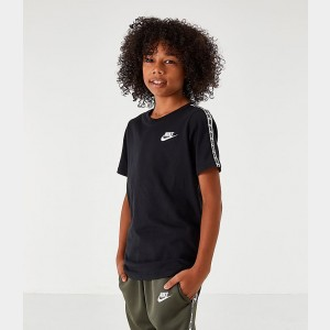 Boys' Nike Sportswear Taped T-Shirt Black/White Sales