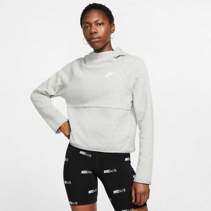 Women's Nike Sportswear Tech Fleece Hoodie Dark Grey Heather/Matte Silver/White Sales