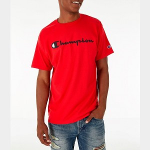 Men's Champion Graphic Jersey T-Shirt Red Sales