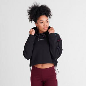Women's adidas Originals Tech Crop Hoodie Black/Multi Sales