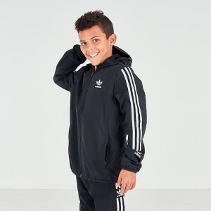 Boys' adidas Originals Lock Up Full-Zip Hoodie Black/White Sales