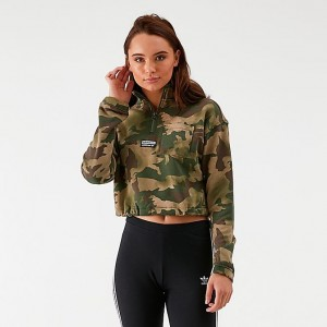 Women's adidas Originals Half-Zip Cropped Sweater Hemp/Earth Green/Base Green/Cargo Brown Sales