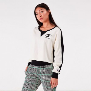 Black Friday 2021 Women's Champion Life Long Sleeve Color Blocked Cropped Top Chalk White/Black Sales