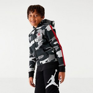 Boys' Jordan Jumpman Air Fleece Camo Full-Zip Hoodie Black/Camo Sales