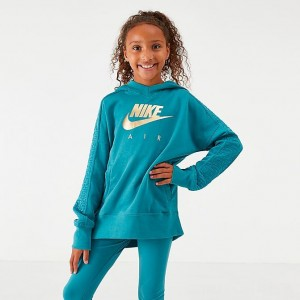 Girls' Nike Air Metallic Pullover Hoodie Mineral Teal/Metallic Sales