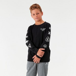 Boys' Jordan AJ85 Long-Sleeve T-Shirt Black/White Sales