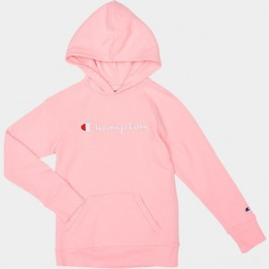Girls' Champion Script Logo Hoodie Pink Candy Sales