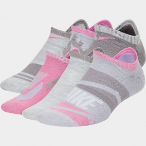 Kids' Nike Everyday Lightweight Graphic Slash 6-Pack No-Show Socks Pink/White Sales