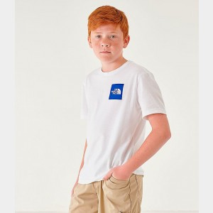 Boys' The North Face Outline Logo T-Shirt White/Royal Sales