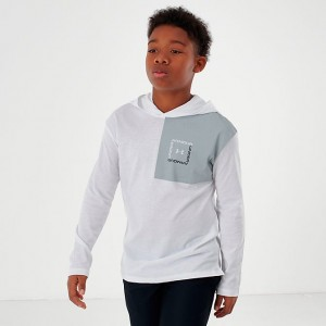 Boys' Under Armour Sportstyle Hoodie White/Mod Grey Sales