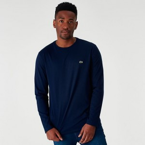 Men's Lacoste Core Long-Sleeve T-Shirt Navy Sales