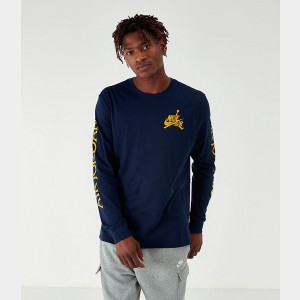 Men's Jordan Mashup Classics Long-Sleeve T-Shirt Obsidian Sales