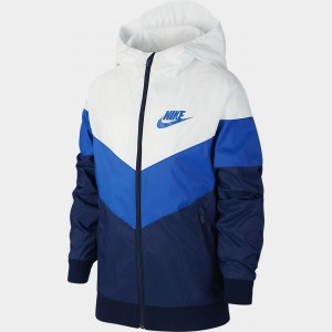 Boys' Nike Sportswear Windrunner Jacket Summit White/Game Royal Sales