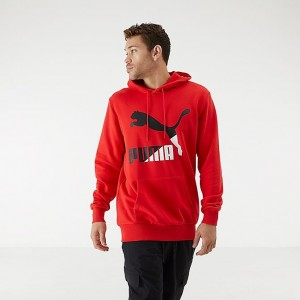 Men's Puma Classics Logo Hoodie Red/Black Sales