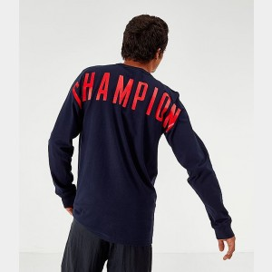 Men's Champion Back Logo Long-Sleeve T-Shirt Navy Sales