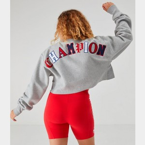 Women's Champion Reverse Weave Old English Crop Crew Sweatshirt Grey/Red/Black Sales