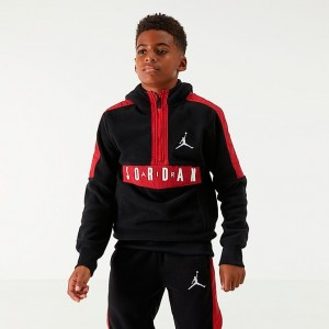 Boys' Jordan Air Half-Zip Fleece Hoodie Black/Red Sales