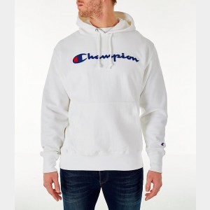 Men's Champion Reverse Weave Chenille Logo Hoodie White Sales