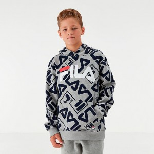 Boys' Fila Gio Hoodie White/Light Grey Sales