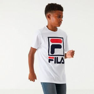 Boys' Fila Stacked Logo T-Shirt White/Peacoat/Chinese Red Sales