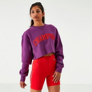 Women's Champion Reverse Weave Vintage Crop Crew Sweatshirt Venetian Purple Sales