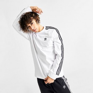 Men's adidas Originals 3-Stripes Long-Sleeve T-Shirt White Sales