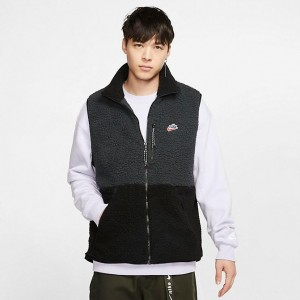Men's Nike Sportswear Sherpa Fleece Vest Off Noir/Black Sales