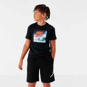 Boys' Nike Sportswear Air Hoop Snow T-Shirt Black Sales