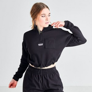 Women's adidas Originals Half-Zip Sweater Black Sales