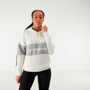 Women's New Balance Athletics Stadium Hoodie White/Grey Sales