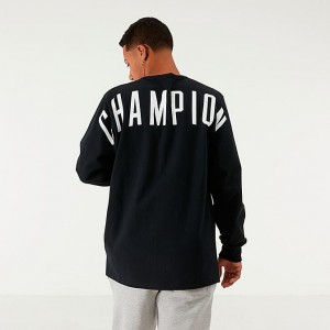 Men's Champion Back Logo Long-Sleeve T-Shirt Black Sales