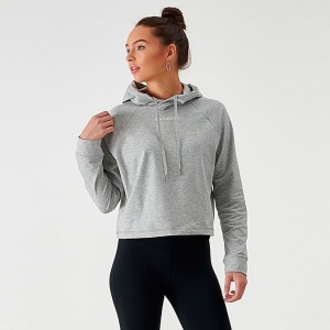 Women's New Balance Relentless Crop Hoodie Grey Heather Sales