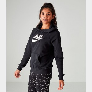 Women's Nike Sportswear Essential Hoodie Black/White Sales