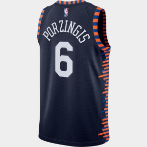 Men's Nike New York Knicks NBA Kristaps Porzingis City Edition Connected Jersey College Navy Sales