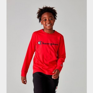 Kids' Champion Heritage Logo Long Sleeve T-Shirt Red Sales