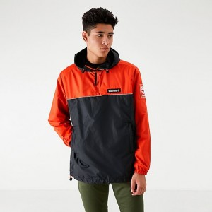 Men's Timberland Hooded Windbreaker Jacket Spicy Orange/Black Sales