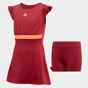 Girls' adidas Ribbon Tennis Dress Collegiate Burgundy Sales