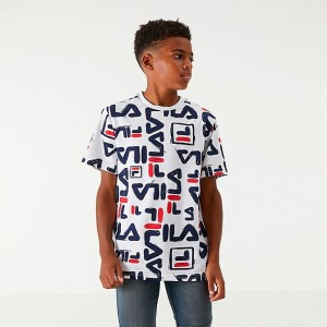 Boys' Fila Carmelo T-Shirt White/Allover Print Sales