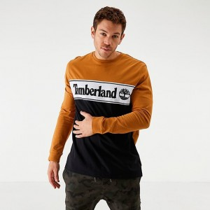 Men's Timberland Linear Logo Long-Sleeve T-Shirt Wheat/Black Sales