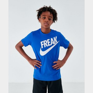 Boys' Nike Giannis Antetokounmpo Freak Dri-FIT T-Shirt Game Royal/White Sales