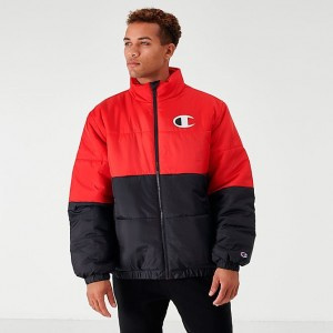 Men's Champion Stadium Puffer Jacket Black/Scarlet Sales