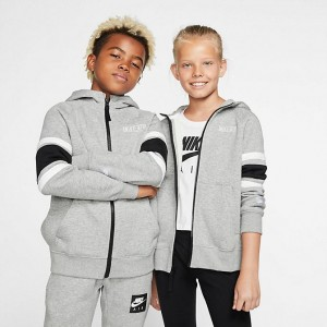 Boys' Nike Air Full-Zip Hoodie Dark Grey Heather/Black/White/White Sales