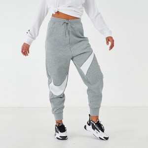 Women's Nike Sportswear Swoosh Fleece Jogger Pants Grey/White Sales