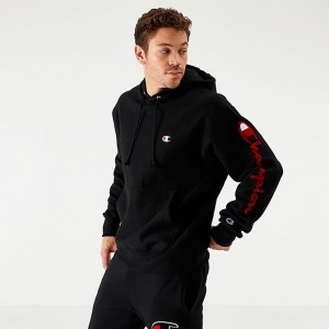 Men's Champion Reverse Weave Arm Script Hoodie Black Sales
