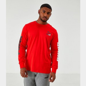 Men's Puma Classics Long-Sleeve T-Shirt Red Sales