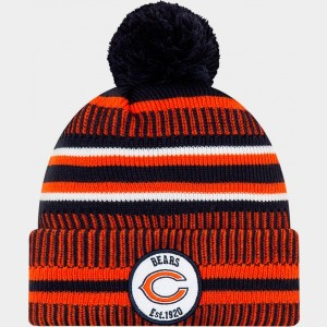 New Era Chicago Bears NFL Home Striped Sideline Beanie Hat Team Colors Sales