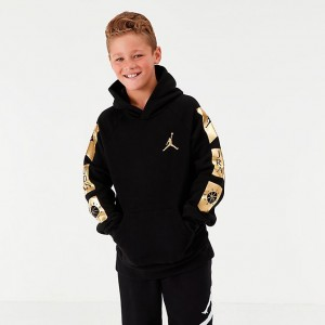 Boys' Jordan Jumpman Fleece Hoodie Black/Gold Sales
