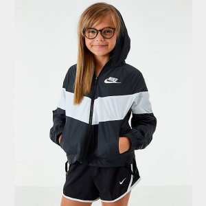Girls' Nike Sportswear Windrunner Jacket Black/White Sales